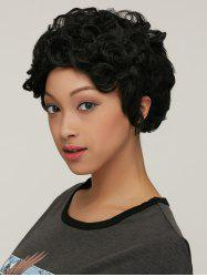 Curly Short High Temperature Fiber Wig - BLACK