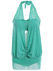 Sexy Halter Ruffled Swimsuit For Women - GREEN S