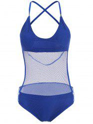 Sexy Halter Neck Blue Mesh Design Hollow Out One-Piece Swimwear For Women