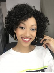 Short Side Bang Afro Curly Synthetic Hair Wig