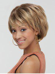 Mixed Color Synthetic Fluffy Wave Short Layered Cut Wig - COLORMIX