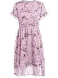 Bird Print Ruffled High Waist Dress