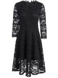 High Waist Lace Fit and Flare Dress