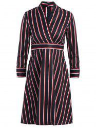 Long Sleeve Striped Surplice High Waist Office Dress