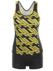 Racerback Printed High Neck Tankini Set