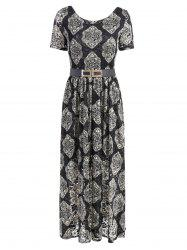 Bohemian Short Sleeve Floral Lace Maxi Dress -
