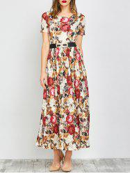 Bohemian Short Sleeve Floral Lace Maxi Dress