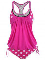 Polka Dot Print Round Neck Racerback Tankini with Padded Bra - ROSE MADDER