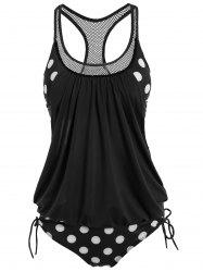 Polka Dot Print Round Neck Racerback Tankini with Padded Bra - BLACK