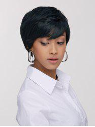 Manly Synthetic Ink Turquoise Short Shaggy Side Bang Wig For Women