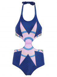 Halter Zig Zag Backless Monokini One-Piece Swimsuit For Women