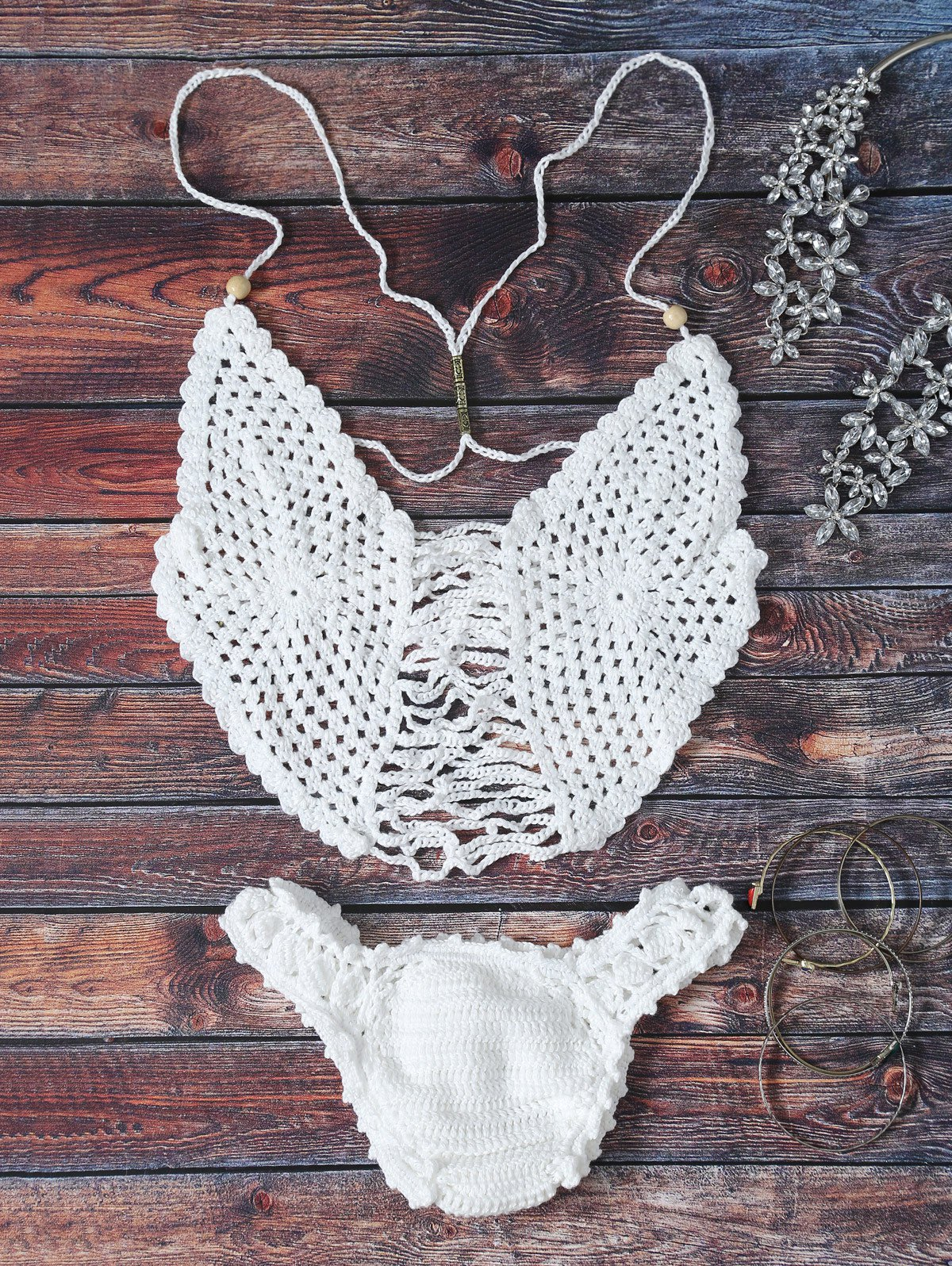 Affordable Strappy Scalloped Crochet Halter Bikini