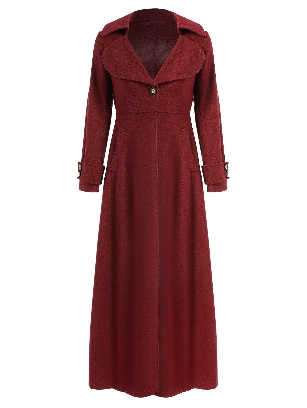 Unique Elegant Solid Color Turn-Down Collar Tunic Maxi Coat For Women