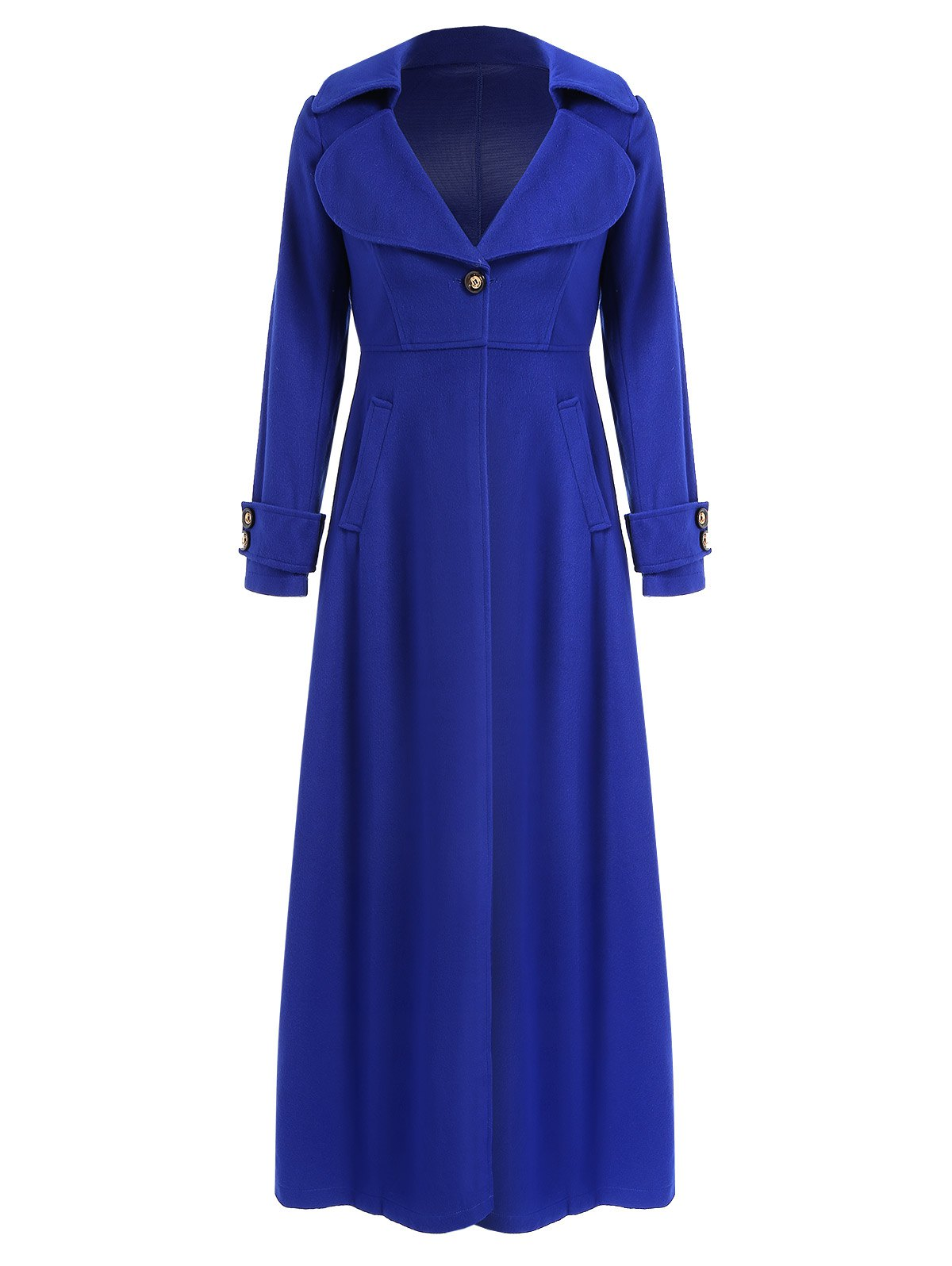 Shops Elegant Solid Color Turn-Down Collar Tunic Maxi Coat For Women