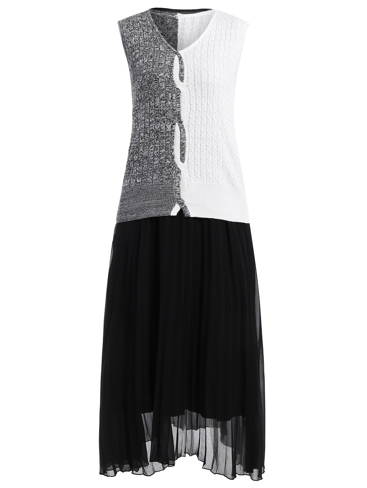 Unique Sleeveless Knitwear and Pleated Dress Twinset