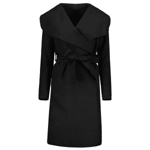 Shawl Collar Wool Blend Belted Wrap Coat -