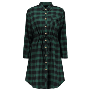 Button Up Plaid Pocket A Line Shirt Dress -