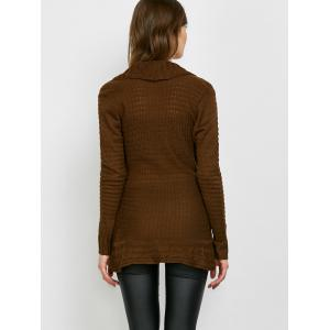 Chic Turn-Down Neck Long Sleeve Asymmetrical Women's Sweater - DARK KHAKI S