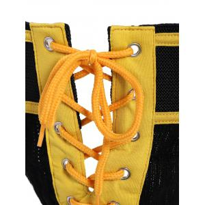 Lace-Up String Design U Convex Pouch Color Block T-Back - YELLOW L
