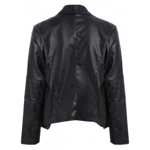 Drape Front Biker Jacket - BLACK 4XL