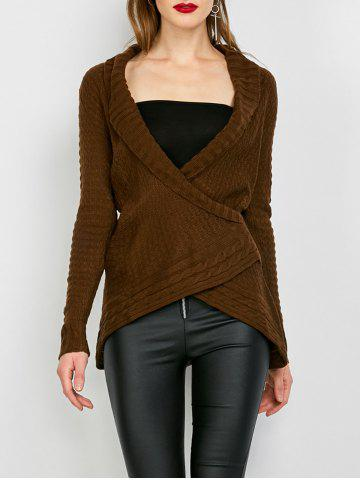 Fashion Chic Turn-Down Neck Long Sleeve Asymmetrical Women's Sweater DARK KHAKI S