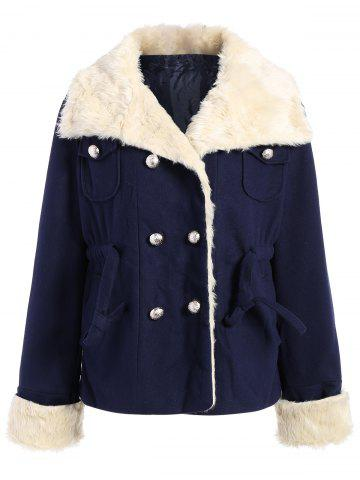 Preppy Style Turn-Down Collar Double-Breasted Thicken Long Sleeve Women's Coat - PURPLISH BLUE M