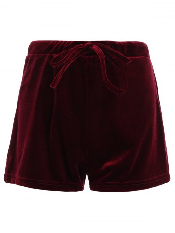 Outfits Drawstring Velevt Mini Shorts WINE RED XL