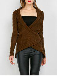 Chic Turn-Down Neck Long Sleeve Asymmetrical Women's Sweater - DARK KHAKI