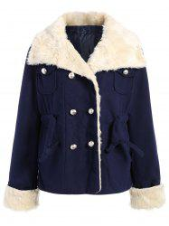 Preppy Style Turn-Down Collar Double-Breasted Thicken Long Sleeve Women's Coat - PURPLISH BLUE