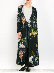 Ankle Length Print Wrap Coat -