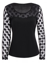 Polka Dot Sheer Long Sleeve Top