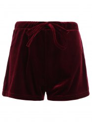 Drawstring Velevt Mini Shorts -