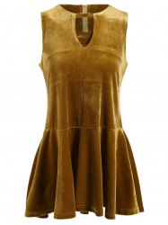 Keyhole Neck Sleeveless Velvet Dress