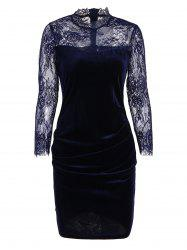 Lace Panel Velvet Ruched Bodycon Dress