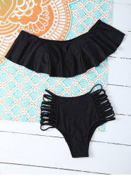 Ruffles Padded Top With High Waisted Briefs Bikini Swimsuit - BLACK