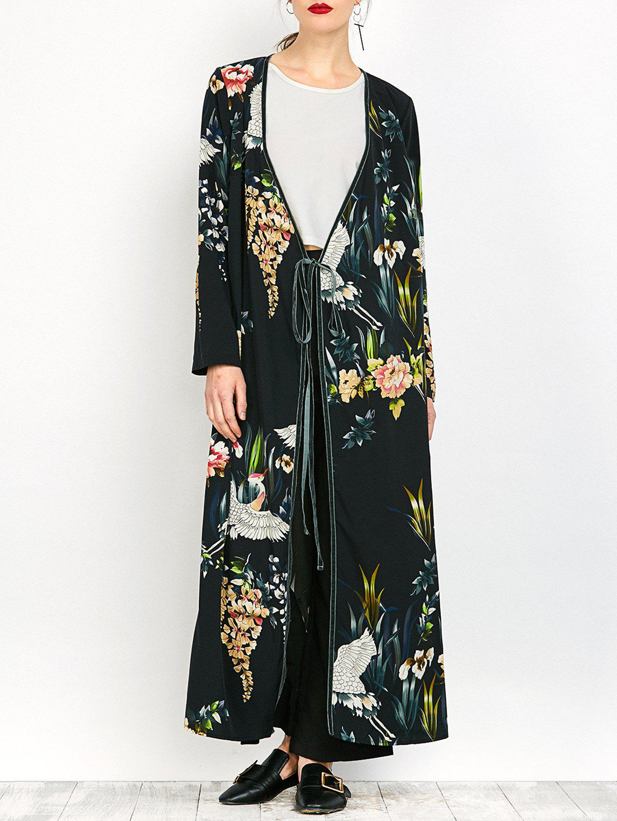 Outfits Ankle Length Print Wrap Coat