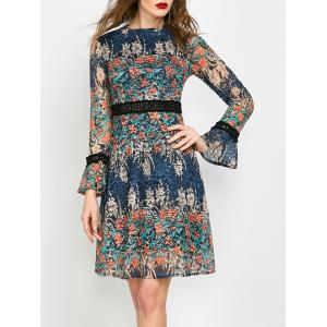 Mock Neck Floral Lace Long Sleeve Dress