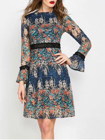 Discount Mock Neck Floral Lace Long Sleeve Dress - XL ORANGE Mobile