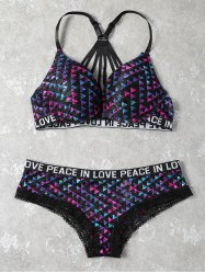 Lace Panel Strappy Jacquard Bra Set - COLORMIX
