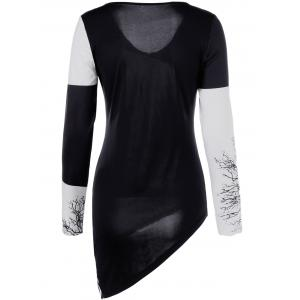 Tree Print Asymmetric Two Tone T-Shirt -