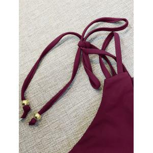 Strappy Plunge Bikini Top and String Bottoms - WINE RED M