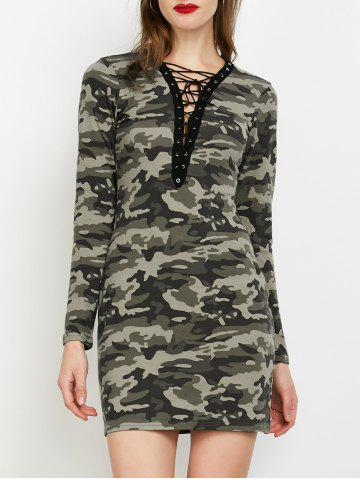 Camo Plunge Long Sleeve Lace-Up Dress - Acu Camouflage - M