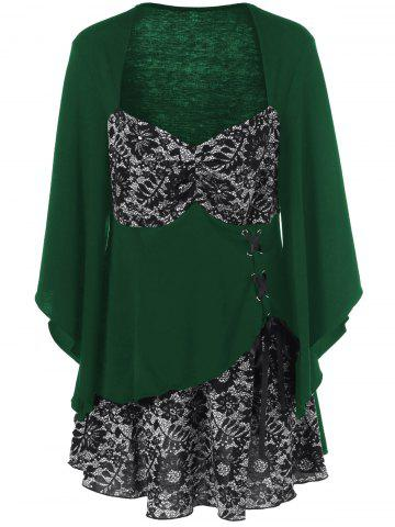 Lace-Up Floral Trim Layered Blouse - Green - 5xl