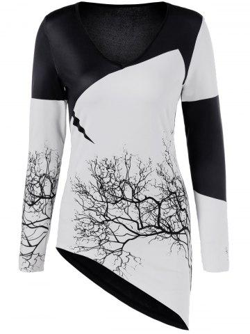 Online Tree Print Asymmetric Two Tone T-Shirt