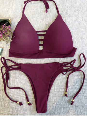 New Strappy Plunge Bikini Top and String Bottoms WINE RED M