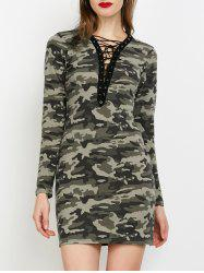 Camo Plunge Lace-Up Dress