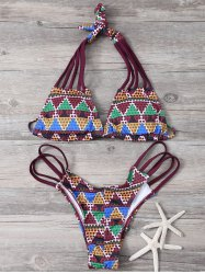 Printed Lace Up Bikini Set For Women