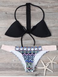 Halter Geometric Pattern Women's Bikini Set