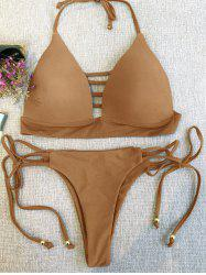 Strappy Plunge Bikini Top and String Bottoms