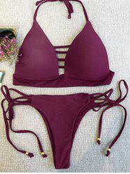 Strappy Plunge Bikini Top and String Bottoms -